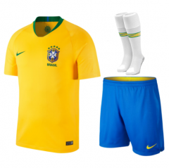 Adult Brazil Home Soccer Jersey Full Kits 2018 ,Jersey+Shorts+Sock