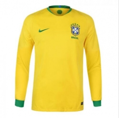 2018 World Cup Brazil Home Yellow Long Sleeve Soccer Jersey Shirt
