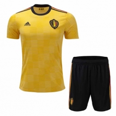 2018 World Cup Belgium Away Yellow Soccer Uniform