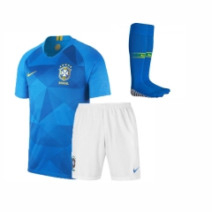 Adult Brazil Away Soccer Jersey Full Kits 2018 ,Jersey+Shorts+Sock