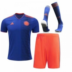 Adult Colombia Away Soccer Jersey Full Kits 2018 ,Jersey+Shorts+Sock