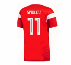 2018 Russia #11 Fyodor Smolov Home Red Soccer Jersey Shirts