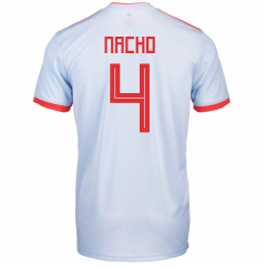 2018 Spain #4 Nacho Fernandez Away Soccer Jersey Shirts