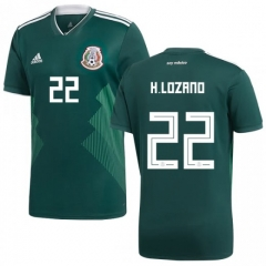 2018 Mexico #22 H.LOZANO Home Green Soccer Jersey Shirts