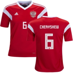 2018 Russia #6 CHERYSHEW Denis Home Red Soccer Jersey Shirts