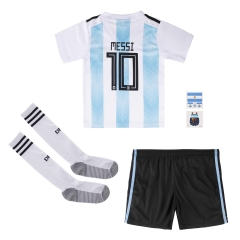 #10 Messi Argentina Youth Home Soccer Jersey Full Kits 2018 ,Jersey+Shorts+Sock