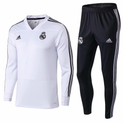 Real Madrid White V Neck Training Suit 2018-2019
