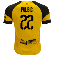 #22 PULISIC Borussia Dortmund Home Yellow Soccer Jersey 2018-2019