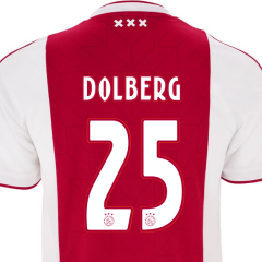 #25 DOLBERG 2018 Ajax Home Red/White Soccer Jersey Shirt