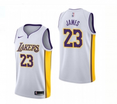 Men NBA 2018-19 LeBron James Lakers #23 Icon Edition Swingman Jersey - White