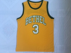 Men NBA Iverson High School #3 Yellow Green Basketball Jersey