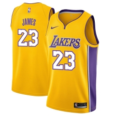 Men NBA LeBron James Lakers #23 Icon Edition Swingman Jersey - Gold