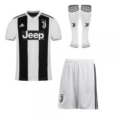 Juventus Home White/Black Soccer Full Kits 2018-2019, Jersey+Shorts+Sock