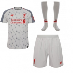 Liverpool Third Away White Soccer Full Kits 2018-2019, Jersey+Shorts+Sock
