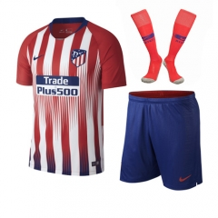 Atletico Madrid Home White/Red Soccer Full Kits 2018-2019, Jersey+Shorts+Sock