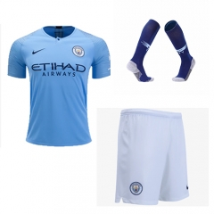 Manchester City Home Blue Soccer Full Kits 2018-2019, Jersey+Shorts+Sock