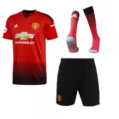 Manchester United Home Red Soccer Full Kits 2018-2019, Jersey+Shorts+Sock