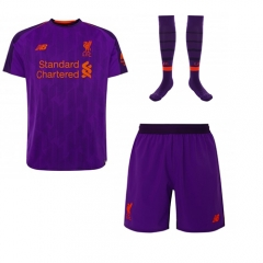 Liverpool Away Purple Soccer Full Kits 2018-2019, Jersey+Shorts+Sock