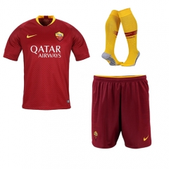 AS Roma Home Red Soccer Full Kits 2018-2019, Jersey+Shorts+Sock