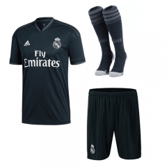 Real Madrid Away Black Soccer Full Kits 2018-2019, Jersey+Shorts+Sock