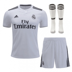 Real Madrid Home White Soccer Full Kits 2018-2019, Jersey+Shorts+Sock