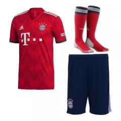 Bayern Munchen Home Blue/Red Soccer Full Kits 2018-2019, Jersey+Shorts+Sock