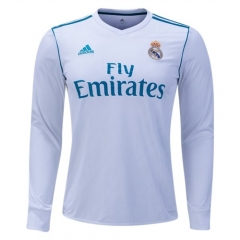 2017-2018 Real Madrid Home Long Sleeve Soccer Jersey Shirt