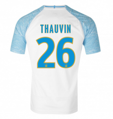 #26 THAUVIN Marseille Home White Soccer Shirt Jersey 2018-19