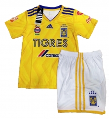 Youth Tigres UANL Home Yellow Sets,2018-2019,Jersey+Shorts