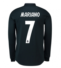 #7 MARIANO 2018-2019 Real Madrid Away Black Long Sleeve Soccer Jersey Shirt