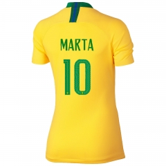 2018 Brazil #10 MARTA Home Yellow Women's Soccer Shirt