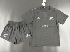 Youth New Zealand Black Uniform  ,Jersey+Shorts