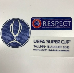 Uefa Super Cup Patch +Respect Patch +Final Patch & Match Details Real Madrid vs Athetico de Madrid , 3pcs/lots