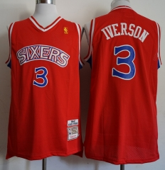 Men NBA Philadelphia 76ers #3 Allen Iverson Swingman City Edition Jersey Red
