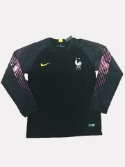 2 Star France Black Goalkeeper Long Sleeve Soccer Jersey Shirt 2018-2019