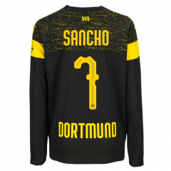 #7 SANCHO 2018-2019 Borussia Dortmund Away Long Sleeve Soccer Jersey Shirt
