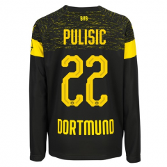 #22 PULISIC 2018-2019 Borussia Dortmund Away Long Sleeve Soccer Jersey Shirt