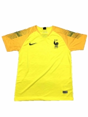 2 Star France Yellow Goalkeeper Soccer Jersey Shirt 2018-2019