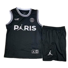 Youth Paris Jordan Black Vest Uniform 2018-2019 ,Jersey+Shorts [China Quality]
