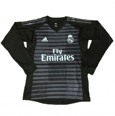 Real Madrid Black Goalkeeper Long Sleeve Soccer Jersey Shirt 2018-2019