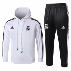 Youth Real Madrid White Hoodie Training Suit 2018-2019