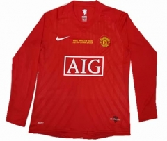 2007-2008 Manchester United Home UCL Long Sleeve Retro Soccer Jersey Shirt