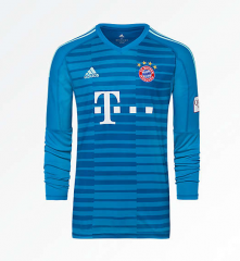 Bayern Munchen Blue Goalkeeper Long Sleeve Soccer Jersey Shirt 2018-2019