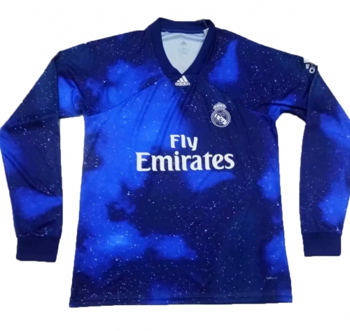 Real Madrid Blue EA Sports Long Sleeve Soccer Jersey Shirt 2018-2019