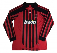 2007-2008 AC Milan Home Long Sleeve Retro Soccer Jersey Shirt