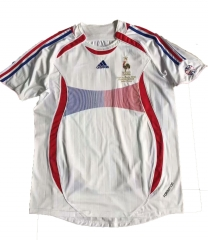 2006-2007 France Away White Retro Soccer Jersey Shirt