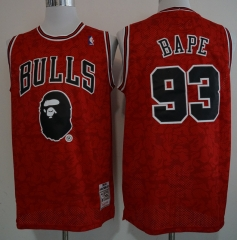 Men NBA #93 BAPE Chicago Bulls Los Angeles Lakers Boston Celtics Retro version Jersey