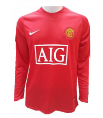 2007-2008 Manchester United Home Long Sleeve Retro Soccer Jersey Shirt