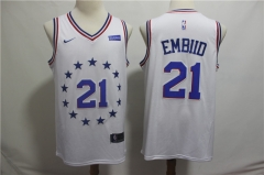 Men NBA Philadelphia 76ers #21 Joel Embiid White Jersey