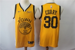 Men NBA Golden State Warriors #30 Curry Swingman Jersey-2019-Yellow